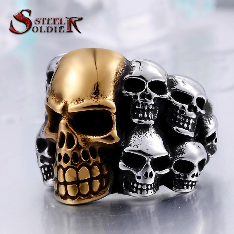 steel soldier punk biker mens titanium stainless steel ring multi rock lots skull ring for men br8 079 - Mens Skull Wedding Rings