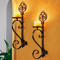 031823 2pieces/lot ofing Restore ancient wrought iron hanging wall candle holder coverings personality