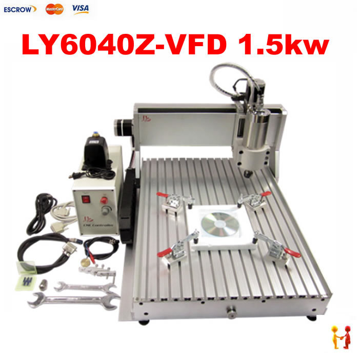 1.5KW power CNC router 6040 /Wood cnc router/router cnc for wood aluminum copper acrylic pcb with assembled & tested well(China (Mainland))
