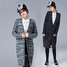 ON sale 2015 American and European design women autumn long cardigan gray  women V neck long sweater coat
