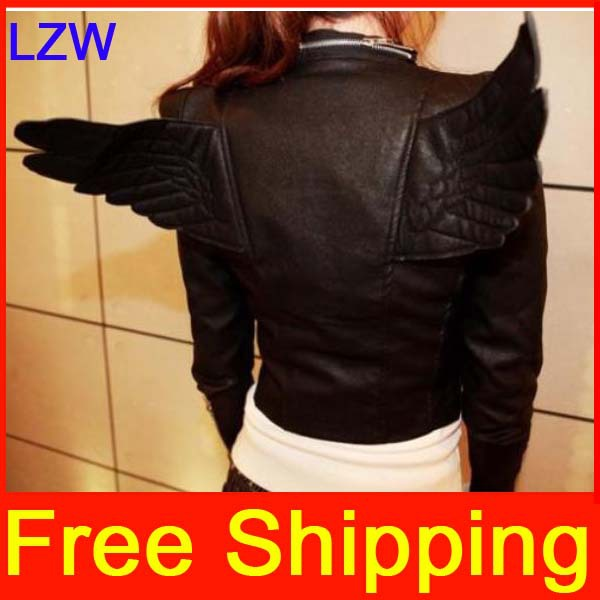 Angel Wings PU Leather Slim Fit Women Zipper Short Jacket Coat , 2014 Female Outwear Black Color - LZWIN-Trading (HK store Co.,Ltd)