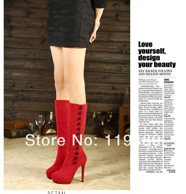 Fashion Boots For Women 2013 New Winter Shoes Hight Heel Platform Mid