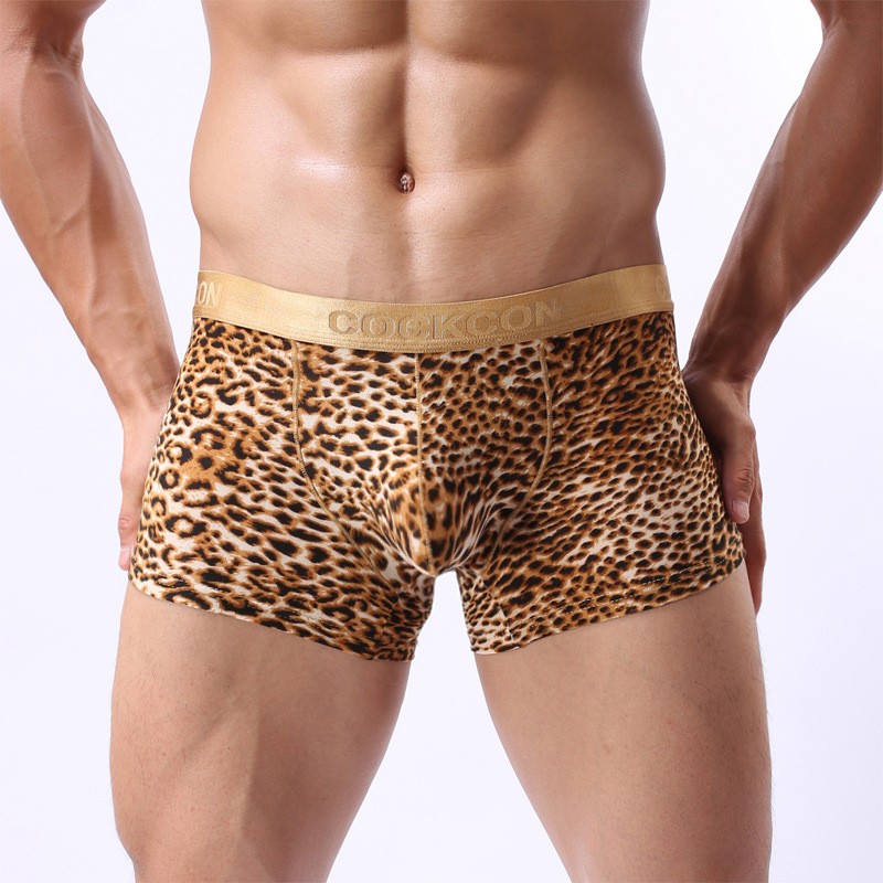 Phnom Penh Leopard Convex Underwear Sexy Leopard Male Boxer Free Shipping Underwear Men Boxer