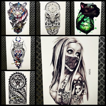 New Design Sexy Girl With Mask Temporary Tattoo Sticker Men Black Body Art Arm Flash Waterproof Tattoo Henna Tatoo Arabic Women
