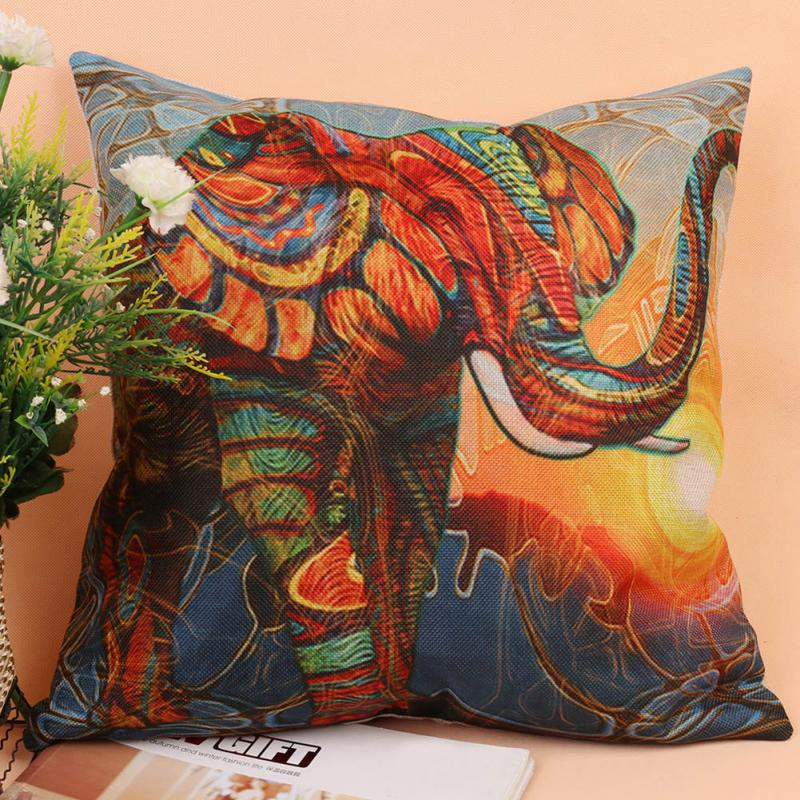New colorful elephant pattern cotton linen square cushion cover sofa throw pillow case home Colorful elephant home decor
