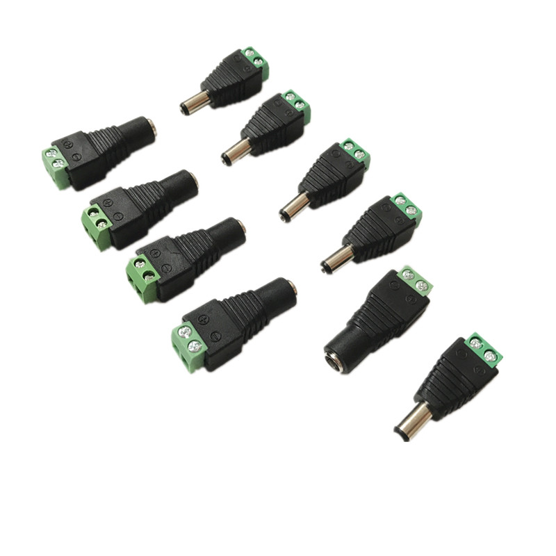 10 Pcs CCTV Cameras 2.1mm x 5.5mm Female Male DC Power Plug Adapter For 5050 3528 5630 5730 Single Color LED Strip Light
