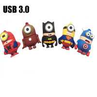 USB 3.0 Cartoon Mr Minions Despicable Me2 USB Flash Drive Pen Drive 4gb 8gb 16gb 32gb 64gb Memory Stick USB 3.0 U Disk