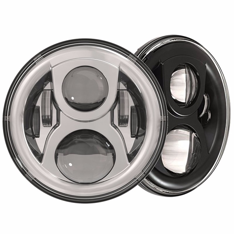 7inch  Round LED Headlight Kit 8700G2 Gen 2 Daymaker with Matching Passing Lamps & Adapter Ring (Chrome) x