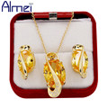 Almei 2016 New African Gold White Plated Wedding CZ Diamond Yellow Jewelry Sets Necklace Pendant Errings