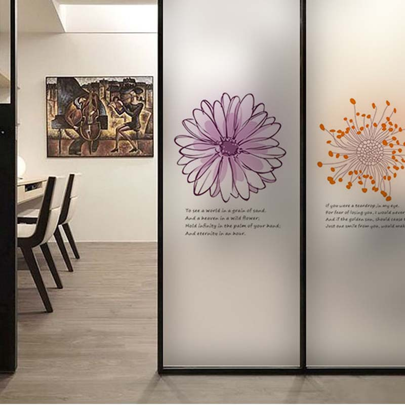 Flower wall sticker coffee shop transparent glass film for Deco mural stickers