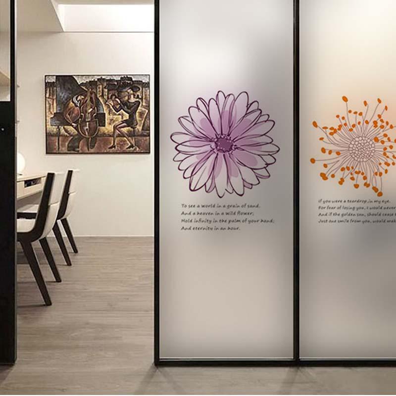 flower wall sticker coffee shop transparent glass film