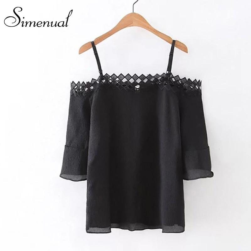 Off shoulde lace splice women blouses shirts 2016 high fashion slash neck sexy slim ladies blouse hot sale summer female shirt(China (Mainland))
