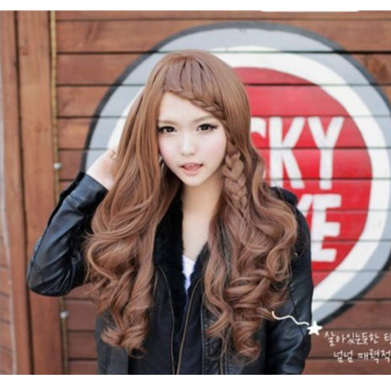 Korean style synthetic fashion women hair wig peluca long wavy with hair net peruca for girl Tilted frisette  christmas gift(China (Mainland))