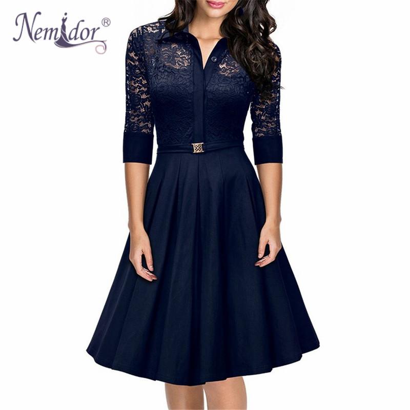 Nemidor 2016 Hot Sales Women A line Casual 3/4 Sleeve ...