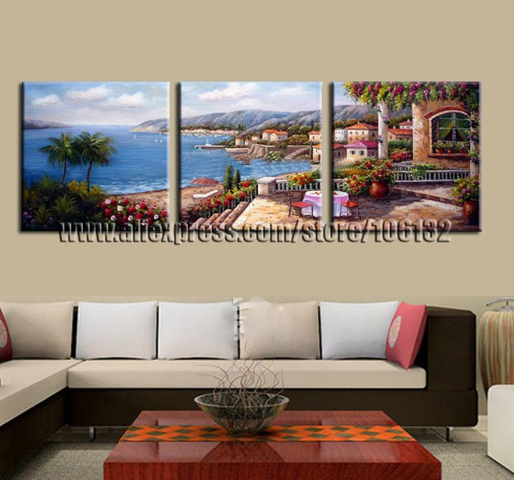 Framed 3 Panel Large Mediterranean Style Oil Panting Unique Gift Pallet Knife Canvas Wall Art Sea Picture Home Decor A0938(China (Mainland))