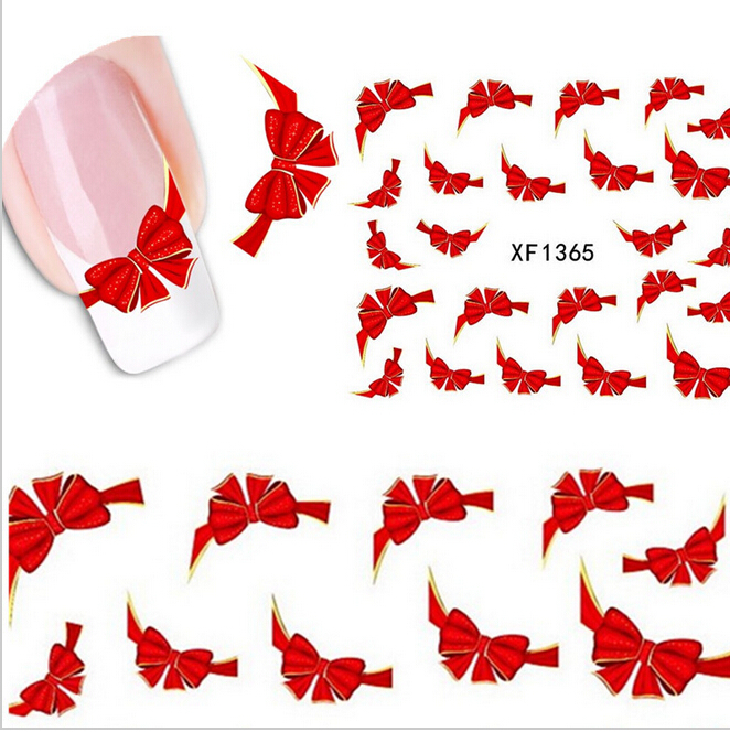 1sheet 3d Red Bow Ties Water Transfer Stickers Nail Art Decoration French Tips Beauty Full Wraps Decals Nail Supplies XF1365(China (Mainland))
