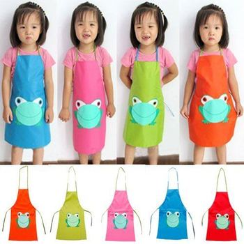 New Cute Child's Children Waterproof Apron Cartoon Frog Printed Painting Cooking #23527