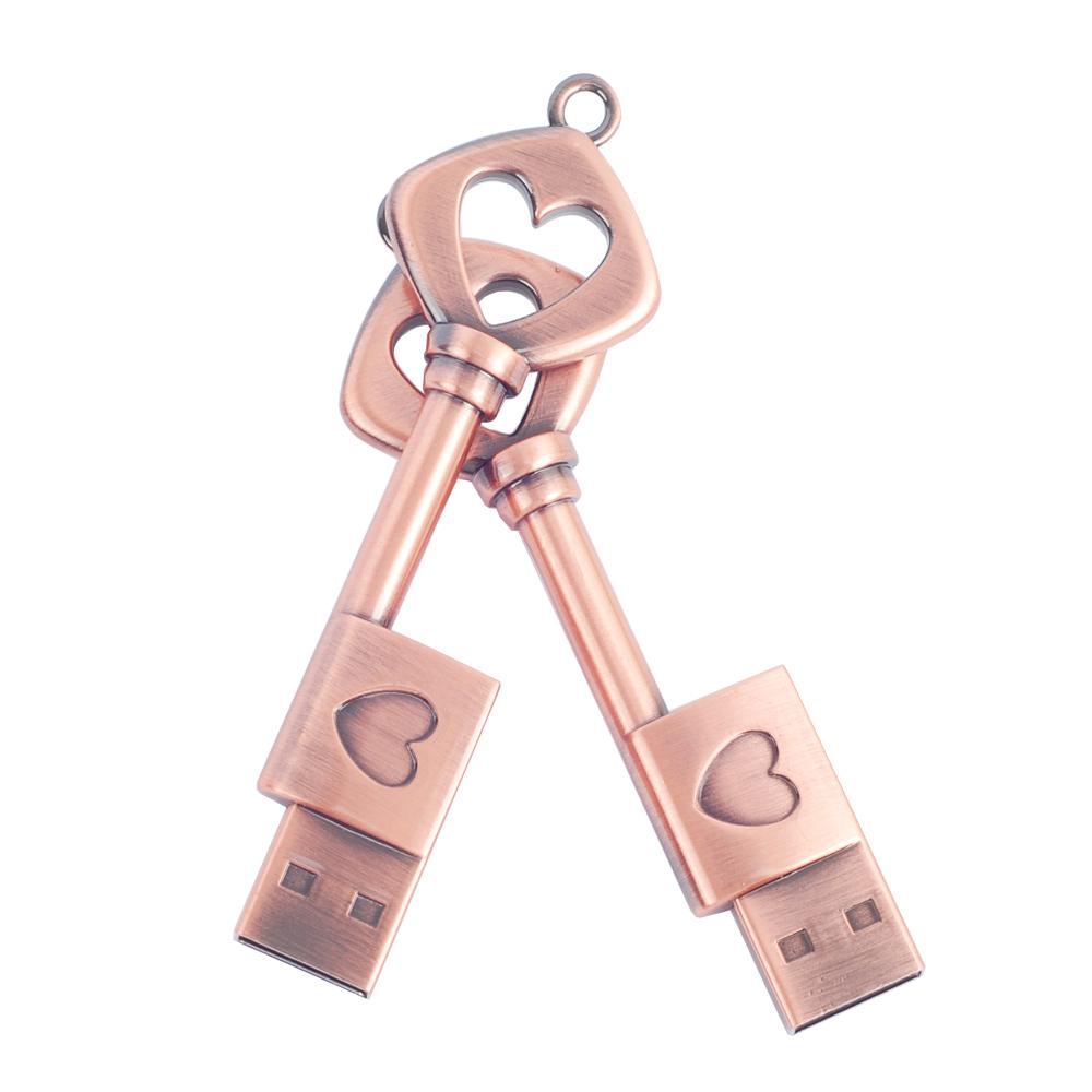 The full capacity Metal The key of love usb 2.0 usb flash drive 8gb 16 gb 32 gb pen drive memory stick pendrive u disk