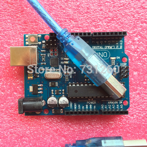 UNO R3 for Arduino (with LOGO) MEGA328P ATMEGA16U2 10set=10 pcs board + 10 pcs usb cable(China (Mainland))