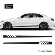 Buy Gloss Black Auto Side Skirt Car Sticker AMG Edition 507 Racing Stripe Side Body Garland Mercedes Benz C Class W204 W205 for $30.99 in AliExpress store