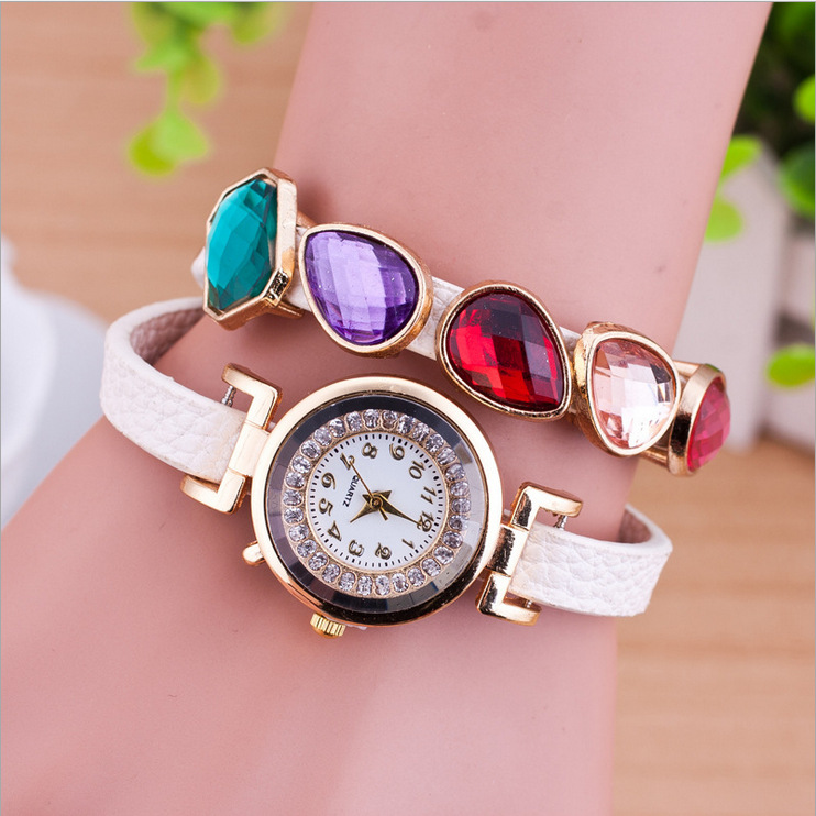 Luxury Style Women's Watch Muti-colors CZ Crystal Wristband Bohemia Fashion Accessories Bracelet 0195  -  Coolcastle store