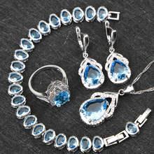 כסף זירקון הכחול 925 ערכות תכשיטי חתונה נשים צמידי קסמי שרשרת טבעות עגילי תליון סט עם האבנים משלוח קופסא מתנה(China)