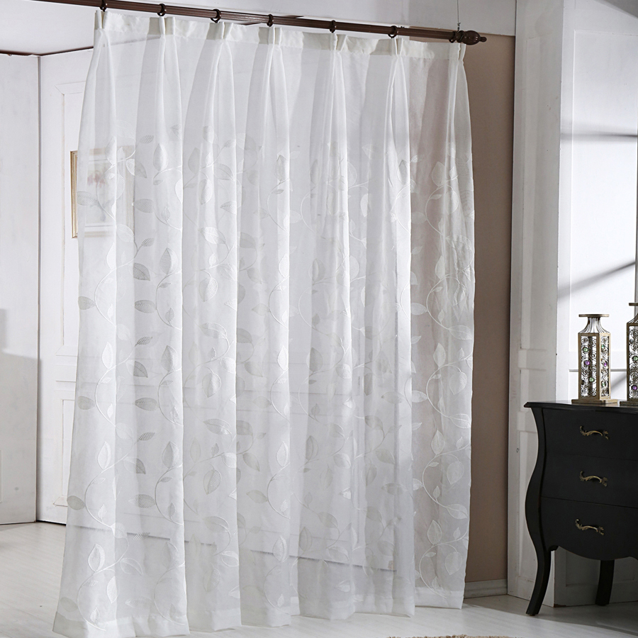 Simple Style Leaf Pattern Decorative White Sheer Vertical Voile Curtains Fabric Living Room