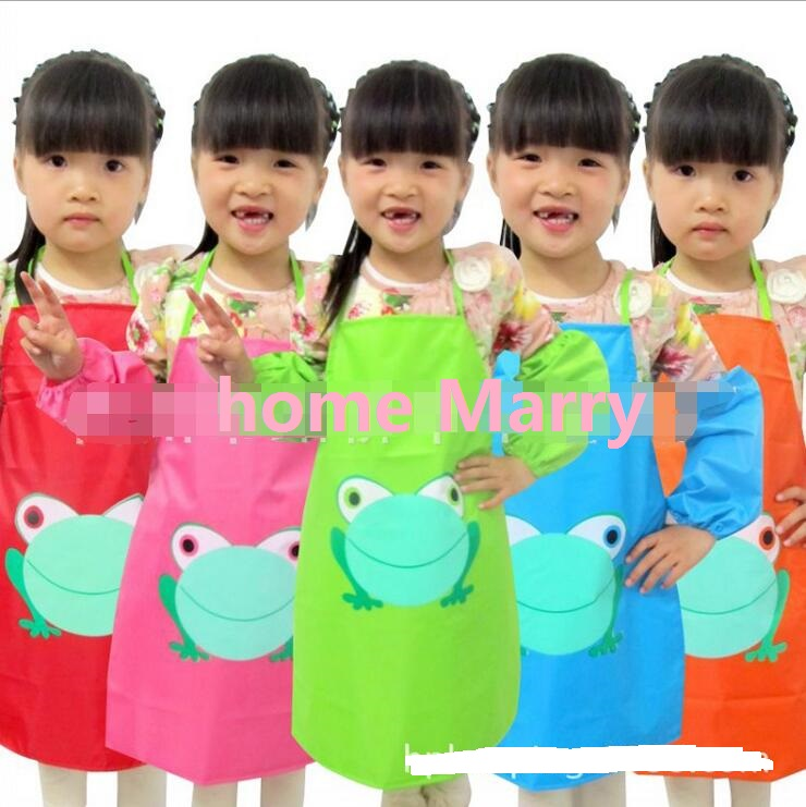 Hot sale New Kids Aprons sleevelet Set Children Apron Draw the clothes Waterproof overall Apron cuff 1 Set= Aprons+oversleeve(China (Mainland))