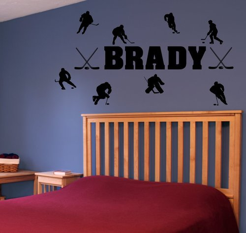 custom wall stickers personalized name amp hockey players personalized wall stickers custom wall stickers
