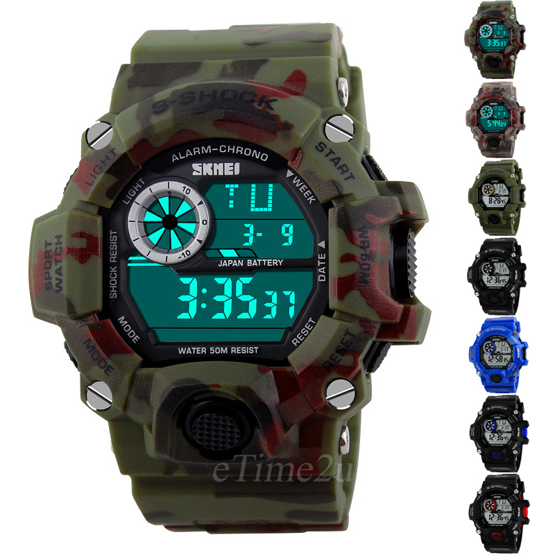 SKMEI Watch Men Camouflage Military Army Watch reloj led digital sports watch relogio masculino esportivo shock Clock Women 1019(China (Mainland))