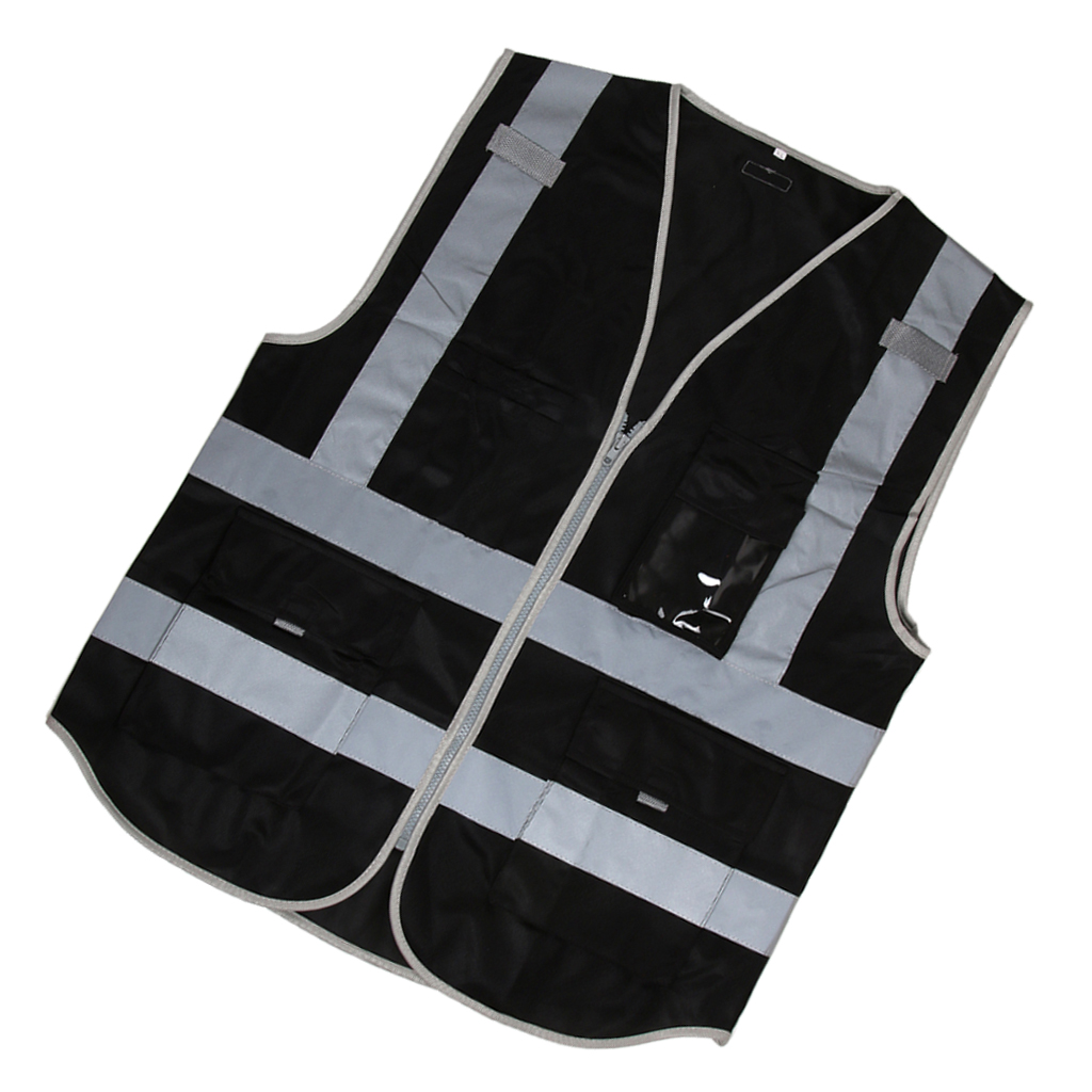 Hi-Vis Vest With Zipper Reflective Tape Jacket Waistcoat Night Safety Warning Reflective Clothing for Truck Drivers Bikers