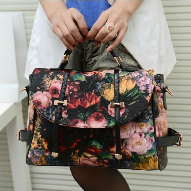 New Fashion Retro Women PU Leather Messenger Bags Printing Rose Oil Painting Handbags Shoulder Bags Chic Tote Female Bolsa(China (Mainland))