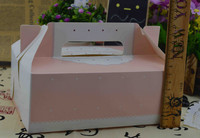 DHL 100Pcs/Lot 20*13*7cm Pink Cake Box With Handle Cookie Food Gift Packaging Cardboard Kraft Paper Boxes Wedding Favor Candy