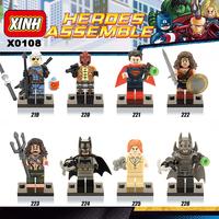 2016 New 8pcs/set X0108 Superheroes Building Block Minifigure Deathstroke Red hood Aqua Man Pirates Batman Lex Luther