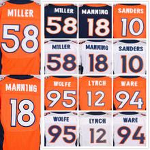 Men's 58 Von 18 Peyton 94 DeMarcus 95 Derek 12 Paxton 10 Emmanuel elite jerseys Stitching and embroidery(China (Mainland))