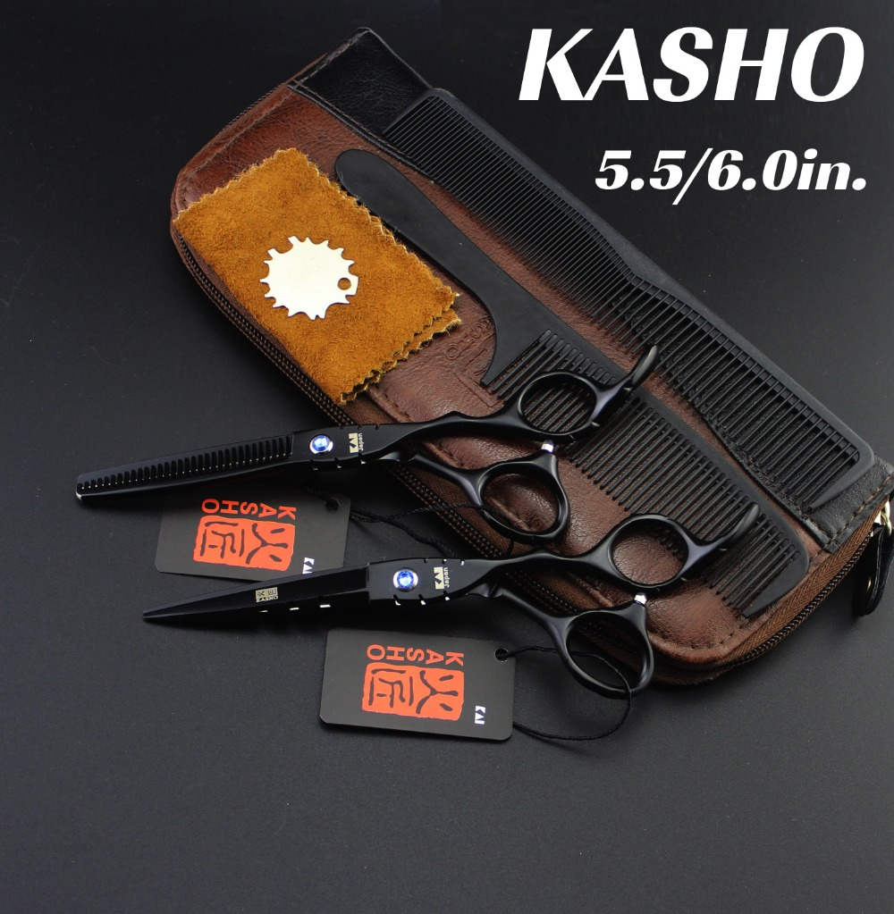 Japan KASHO Profissional Hairdressing Scissors Hair Cutting Set Barber Shears Tijeras Pelo Salon5.5/ 6inch