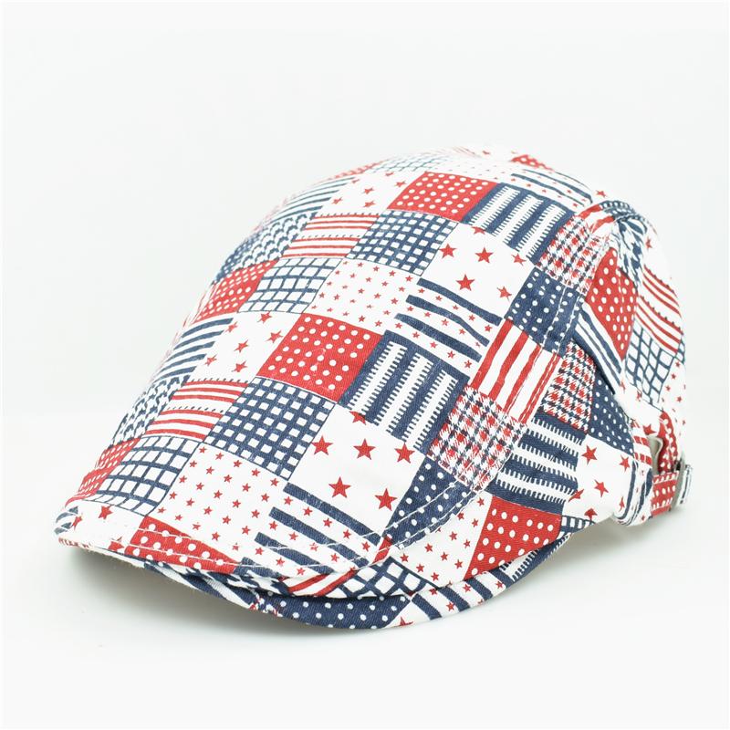 2015 fashion unique artist painter plaid grid style blue red cotton berets caps hat with for adult women men unisex adjustable(China (Mainland))