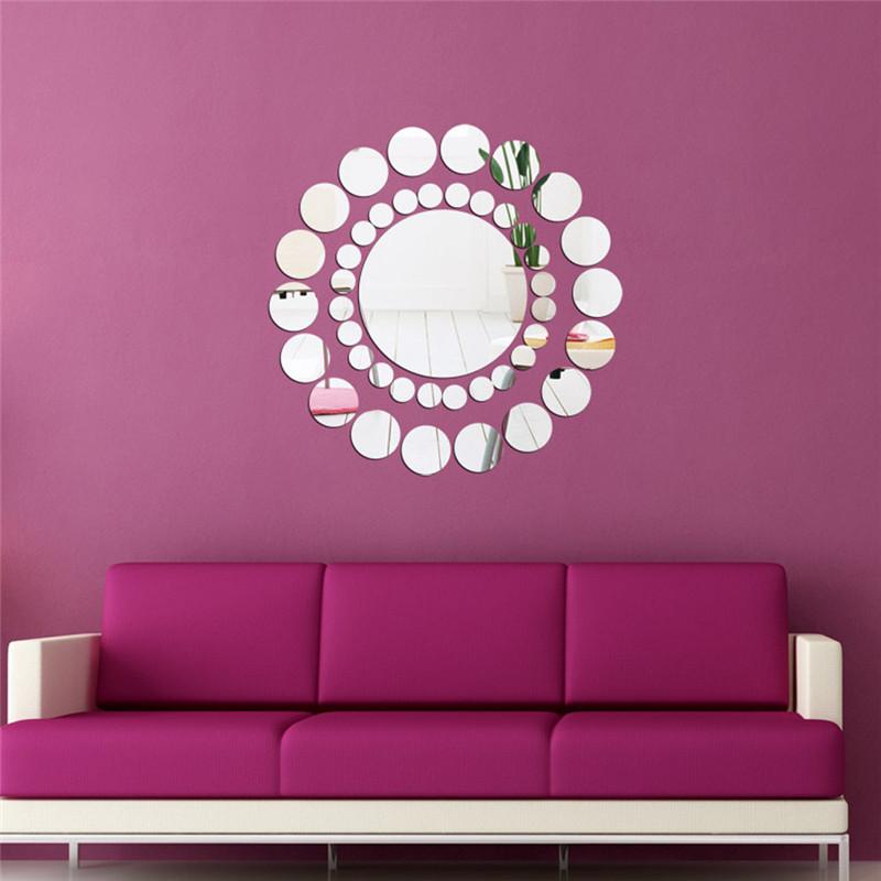 Fashion DIY Mirrors Wall Sticker Home Decoration Sun flower Round Circle style wall sticking mirror supply 30*30cm 2016 sale(China (Mainland))