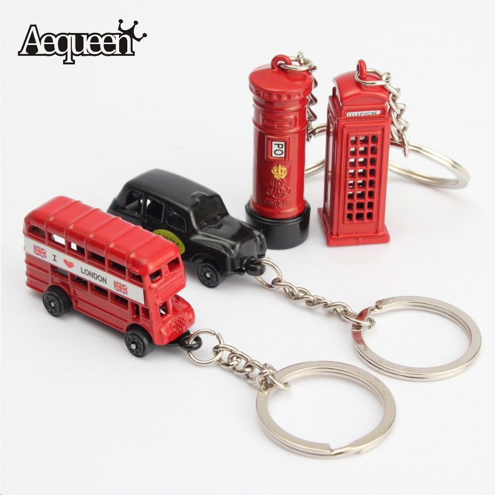 Home Key Chains Ring British Miniature London Keychain Souvenir Gift Red Black Bus Taxi Keyfob(China (Mainland))