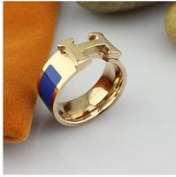 18K Rose Gold Plated  Paved Brand Design Trendy Finger wedding Rings for women( 7 color) RG001
