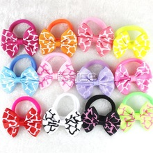 10pcs Candy Color 2 inch Flower Bow hair clip Rubber Band Elastic Bands Gum hair accessories Headwear baby hair clips for girl(China (Mainland))