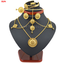 Best Quailty Ethiopian jewelry sets 22k  Gold plated hair jewelry 6pcs sets & African  jewelry for  Ethiopian best Women gifts(China (Mainland))