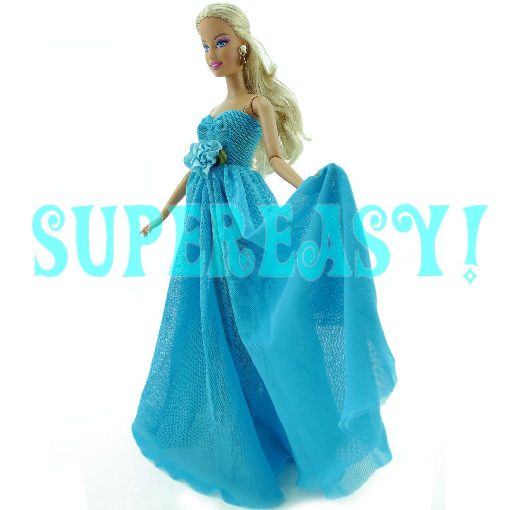 Strapless Gown With Silk Flower The Night Social gathering Robe Princess Garments For Barbie Doll Christmas Present Child Toy Blue Colour