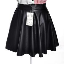 Free Shipping High Waist Skirts Womens Skirt Women Caual Elastic Waist Mini Pleated Leather Skirts Female