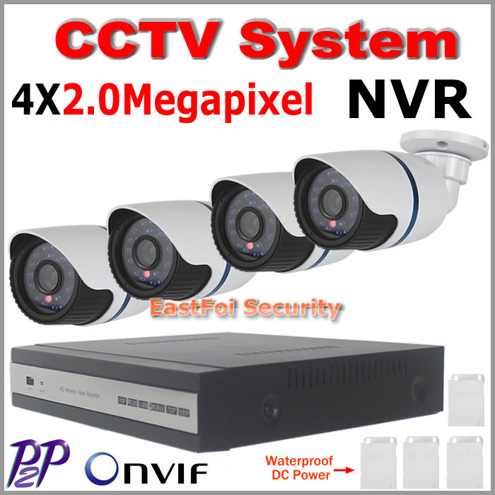 Wired 4CH 1080p nvr 2.0MP IP camera kit NVR P2P onvif 4pcs 1080p IP Camera Outdoor Waterproof Network 2.0MP CCTV camera system<br><br>Aliexpress