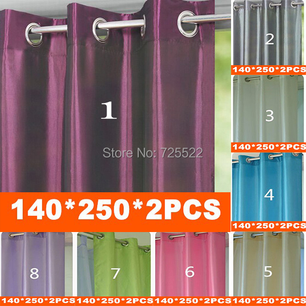 Promotion Solid color taffeta hole Ready made curtains (blackout ,thin ) 8 Colors optional 140cm*250cm sale - Huarlily Import & Export Co., Ltd. store