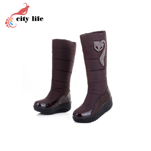 Waterproof Ladies Winter Snow Boots,Classic High Top Feather Women Boots,Discount 2017 Female Nylon Plush Shoes Woman