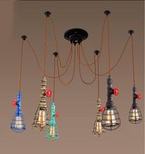 Retro 6 Heads a set E27 Pendant Lights Loft Vintage Lamp Restaurant Bedroom Diningroom Pendant Lamp Hand Knitted Hemp Rope Light(China (Mainland))