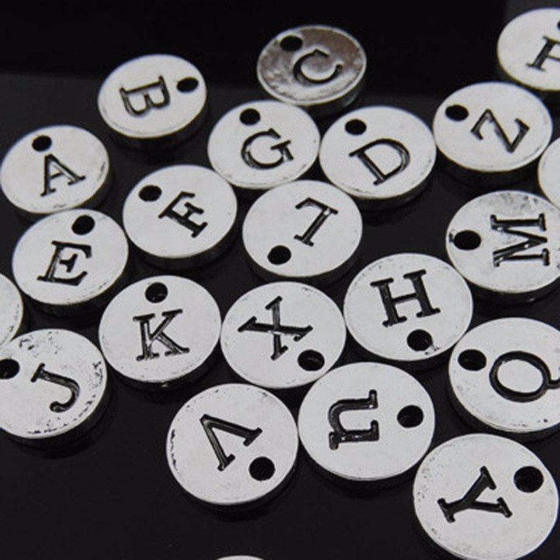 High Quality 130pcs lot  4 Colors 10mm Leers Charms Single Disc DIY Bracelet Stamp Initial Alphabet Pendent Bead Charm Jewelry005