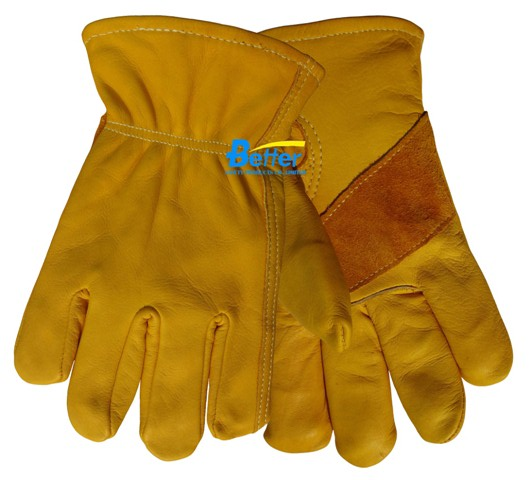 Heat Resistant Safety Glove Grain Cow Leather Driver Work Glove(China (Mainland))